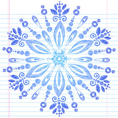 Winter Snowflake Notebook Doodle Vector