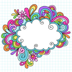 Psychedelic Cloud Thought Bubble Doodle Vector