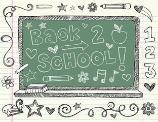 Chalk Board back to School Sketchy Doodles Vector