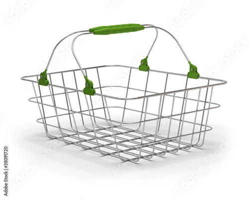 panier d 39 achat vert caddie m tallique fond blanc photo libre de droits sur la banque d 39 images. Black Bedroom Furniture Sets. Home Design Ideas