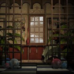 Hintergrund dekorative Wand mit Fenster und Raumteiler