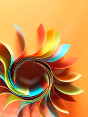 colored paper structure shaped as the sun