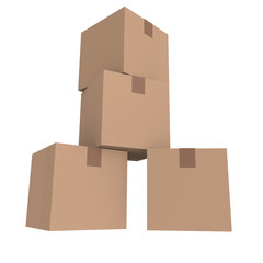 Pile of cardboard boxes, 3D image