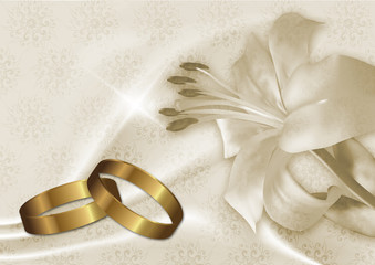 wedding card with gold rings and lily