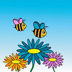 Happy bees cartoon