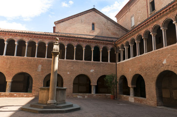 Church and Cloister in Bologna Italy