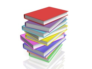 Color books on white background, 3D
