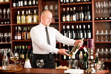 Wine bar waiter happy male in restaurant