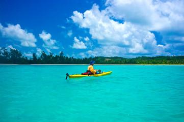 kayak in tropical turquoise sea