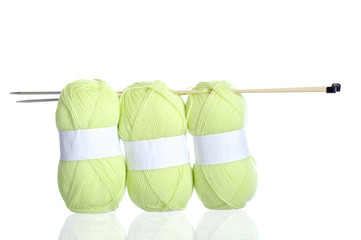 yellow green knitting yarn with needles