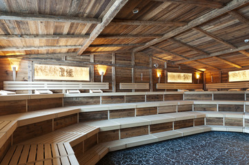 large sized  sauna made with very old wood