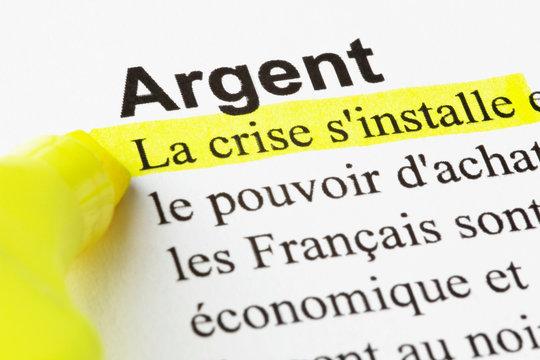 Argent, la crise, texte surligné
