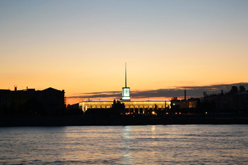 Finland Station and Neva river before sunset