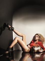 Cute blondie in high heels