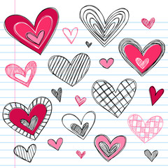 Hearts Sketchy Doodles Vector Illustration