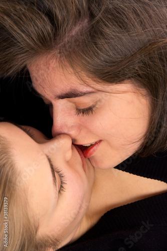 Blond Teen In Bra Kissing