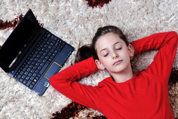 happy school girl relaxing at home