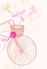 Background with bicycle and birds