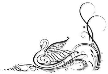 Kalligraphie,Schwan, Schilf, Ranke, black art