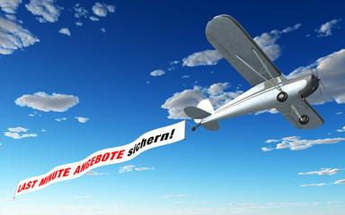 Flugzeug Banner - Last Minute Angebote sichern!