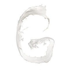 Letter G made of milk splash,isolated on white background