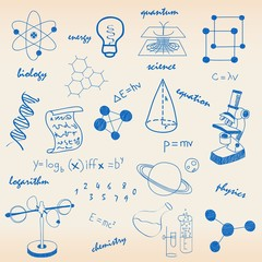 Hand Drawn Science Icons Set