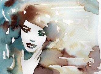 Obraz kobieta w błękitch - fototapety do salonu