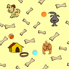 Seamless background with dogs, kennel, balls and bones