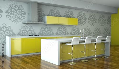 """Küchendesign - Küche im Loft grün"""" Stockfotos und lizenzfreie ..."""