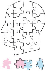 Jigsaw puzzle head with single pieces. They can be individually removed and arranged. Illustration on white background. Vector.