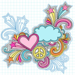 Clouds and Heart Notebook Doodles Vector