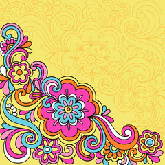 Psychedelic Groovy Flower Swirls Notebook Doodles Vector