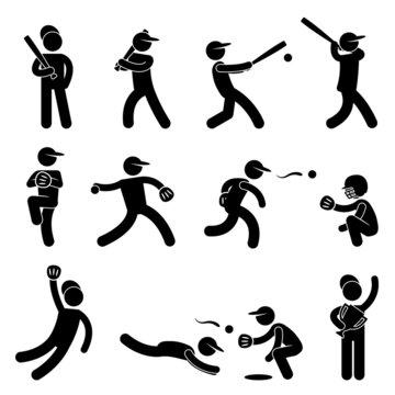 Baseball Softball Swing Pitcher Champion Icon Pictogram