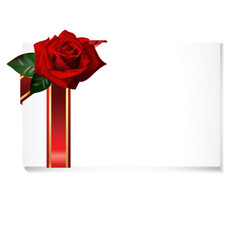 greeting card with rose and ribbon