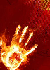 mano impronta fiamme musica