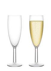 Champagne flutes. Illustration, easy to isolate.