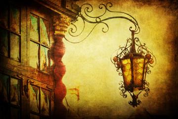 Fotomurales - antike Straßenlaterne an altem Stadthaus