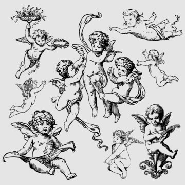 set of various angels or cupids