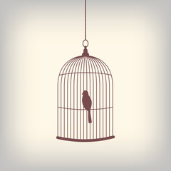 Vintage bird cage with single bird inside.