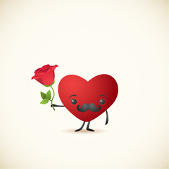 Cartoon heart, rose 1