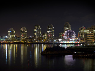 City of Vancouver and world of science at night.