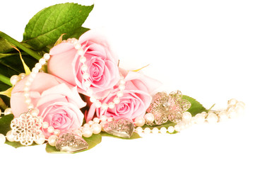 Beautiful background of rose and beads