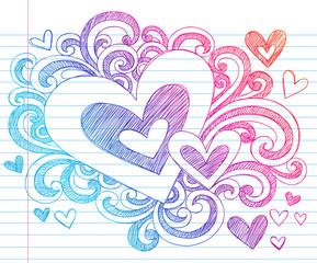 Valentine's Day Hearts Sketchy Doodles Vector