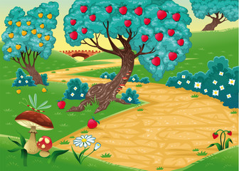 Foto op Canvas Magische wereld Wood with fruit trees. Cartoon and vector illustration