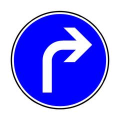 Papier Peint - Verkehrsschild - 209 vorgeschriebene Fahrtrichtung rechts