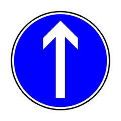 Papier Peint - Verkehrsschild - 209 vorgeschriebene Fahrtrichtung geradeaus