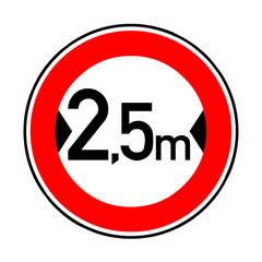 Papier Peint - Verkehrsschild - 264 Verbot Fahrzeuge über 2,5 m