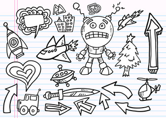 Notebook Doodle Sketch  Elements  Vector Set