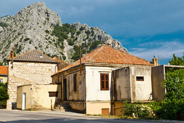 Medieval City of Omis on the Cetina River Bank in Croatia