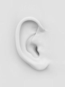 White soft human ear. 3d